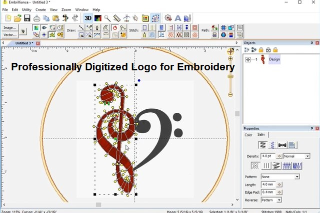 Professionally Digitized Logo for Embroidery